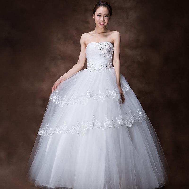 忆红妆 最新款婚纱礼服韩版抹胸新娘齐地公主蕾丝边绑带婚纱