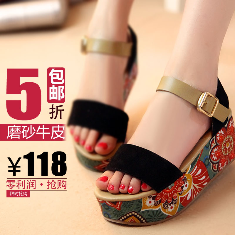 2013 new style leather platform Sandals wedges platform sandals and summer fish mouth shoes Sandals Women 701