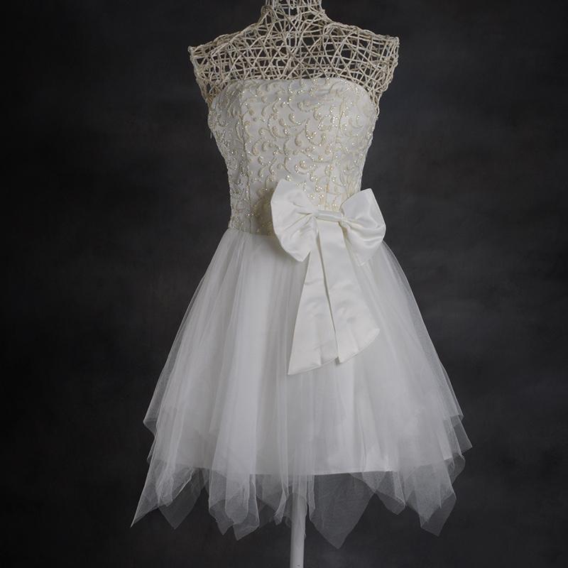 Вечерние платья 13 stomacher Корейский луков маленькие пушистые платье принцессы короткие милые сестры платье невесты платье