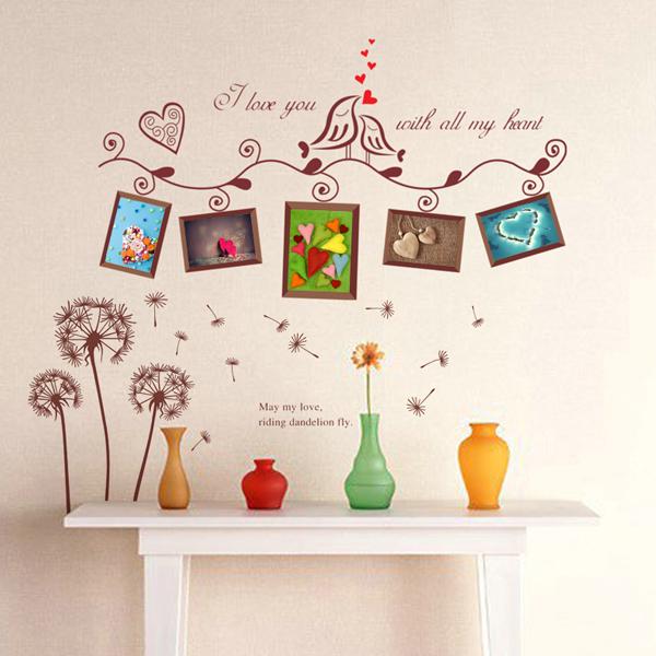 客厅沙发背景墙相片墙组合 家居装修实木照片墙创意组合 送墙贴