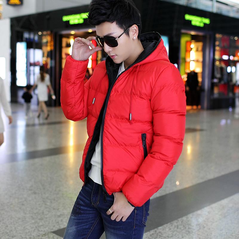 冬装森马男装棉衣加厚保暖羽绒服红色男韩版修身青年潮男外套棉袄图片