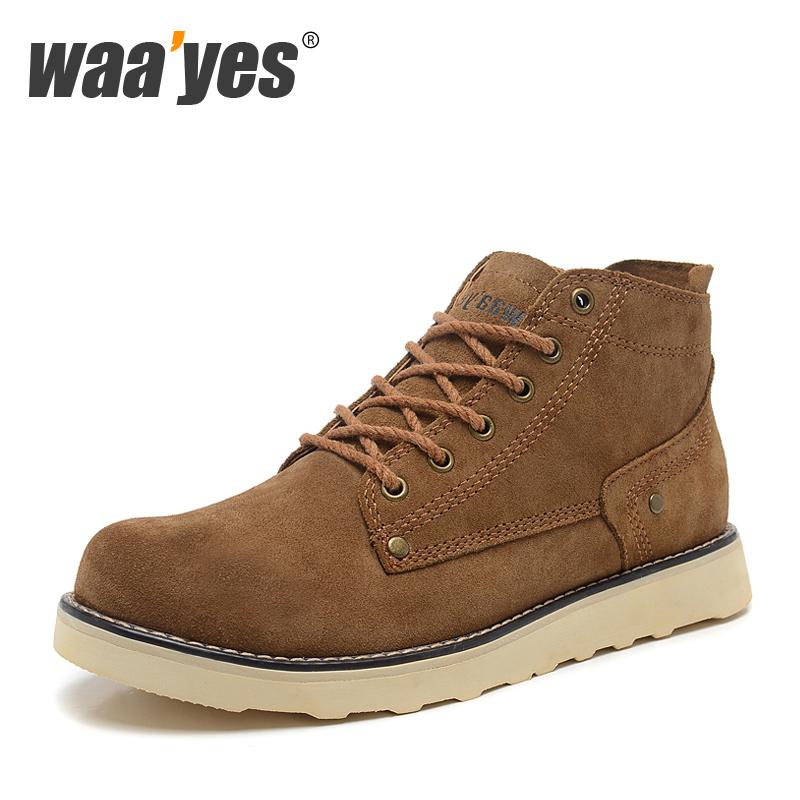 waayes男鞋韩版潮流男靴子英伦马丁靴男真皮靴工装靴短靴军靴潮鞋