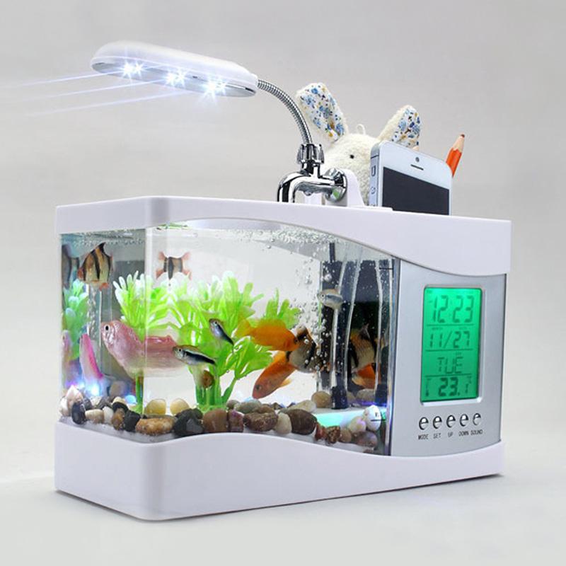 多功能鱼缸笔筒 日历温度闹钟