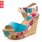 2013 new slope with sandals summer fashion bohemian Roma <span class=H> </span> muffin thick crust fish head high-heeled shoes <span class=H> </span> Son