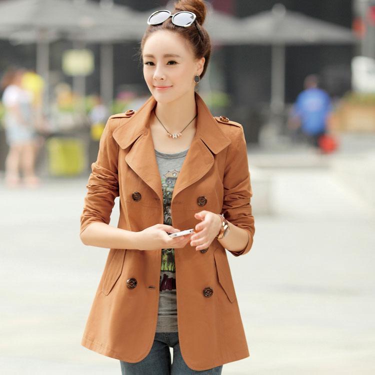 Короткая куртка Большинство новых Осень 2013 женщин v шеи длинный рукав тонкий двубортные похудения моды хлопок дамы ветровка куртка