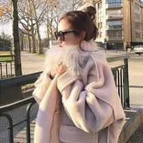 2016冬季新款韩版羊羔绒羊羔毛皮毛一体外套女加厚大毛领毛茸茸潮