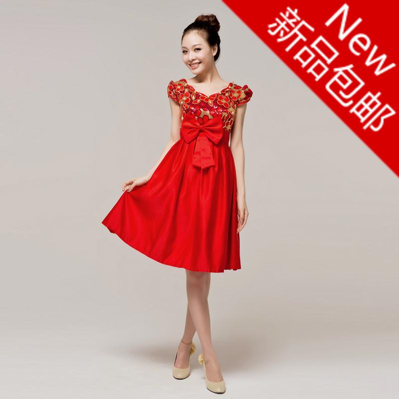 苹果の靓衣橱包邮新娘结婚礼服晚礼服敬酒服时尚中式演出服旗袍裙
