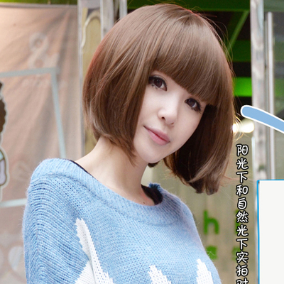 Summer dating girls with short hair wig JIAFA BOBO Liu Qi fluffy wig repair face pear head
