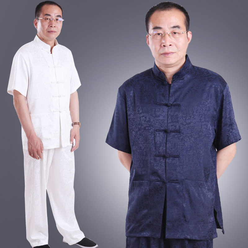 Men's summer clothes are middle and old-aged clothing men clothing suit with short sleeves and Han middle-aged dad elderly Chinese traditional coat half sleeve