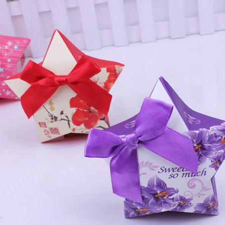 婚庆用品批发欧式创意喜糖盒/喜上眉梢五角星糖盒/含蝴蝶结
