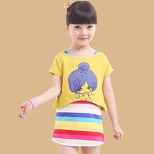 2013 New Kids Summer girls' suits, short-sleeved T-shirt cotton vest skirt Large child sports suit