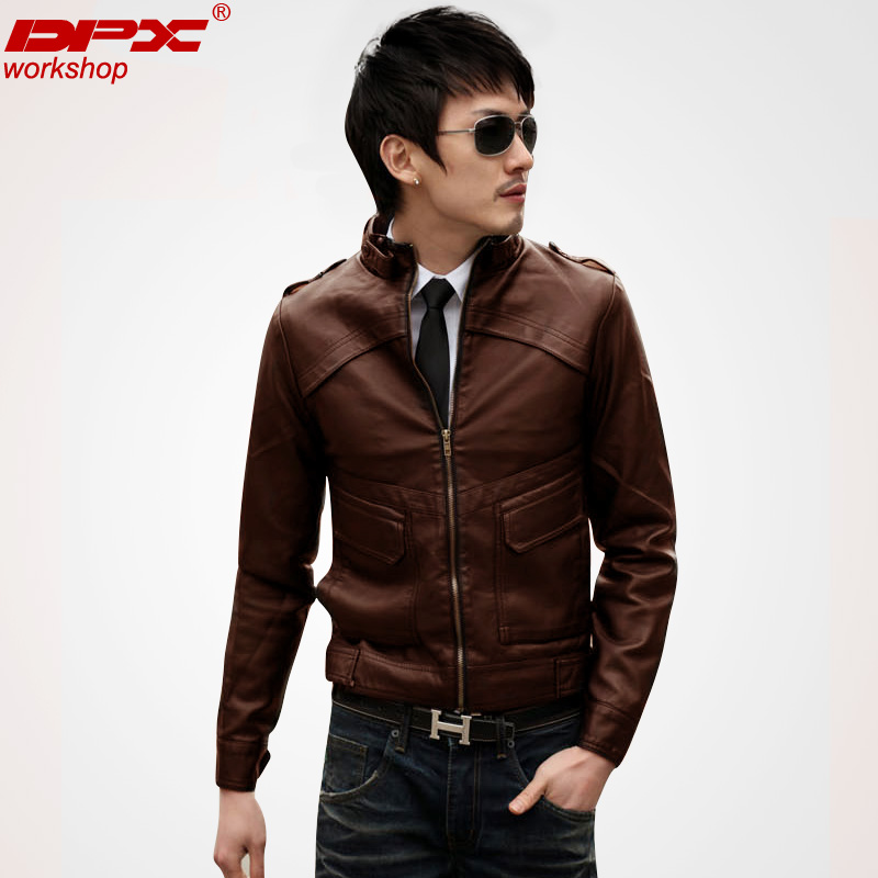 DPX2013 Korean men's leather coat in the spring wave of short men s slim fit motorcycle leather PU leather jacket men