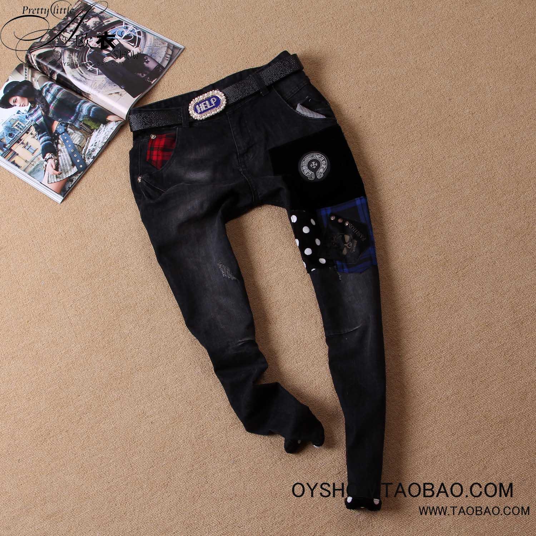 Джинсы женские Новый осенний патч Европы 2013 до установки MP2 заклинание верхом подвесные декоративные пряжки джинсы