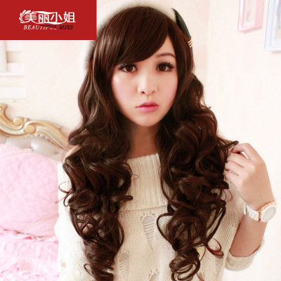 Long curly hair wig female big wave of fluffy omelets scroll oblique fringe hair wig new fashion round
