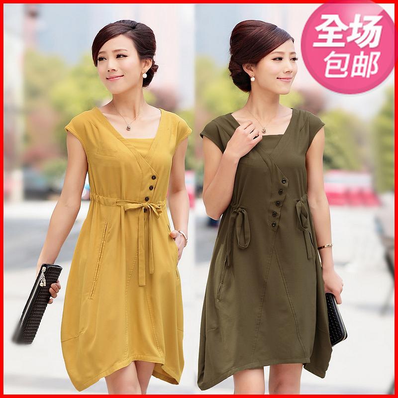 中年妇女连衣裙子中老年女裙气质妈妈女性胖MM显瘦大码新款夏装潮