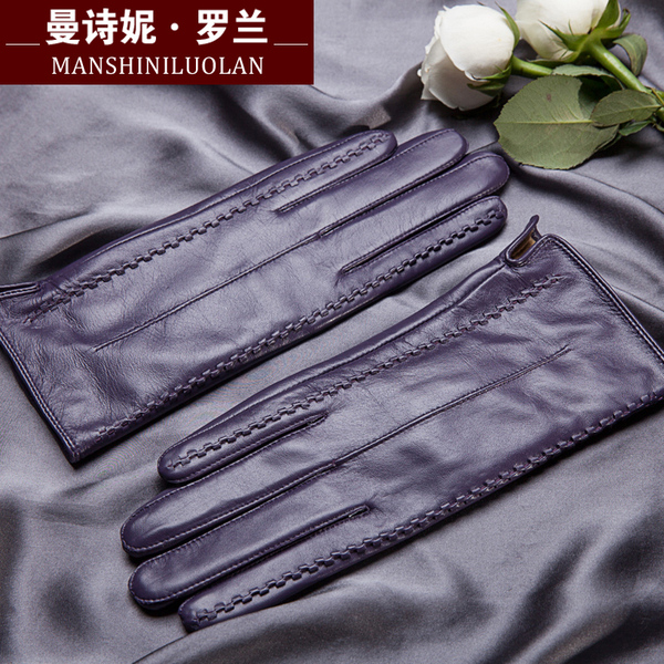 Women sheepskin gloves leather gloves ladies fashion leather gloves for women plus thick velvet warm winter can touch