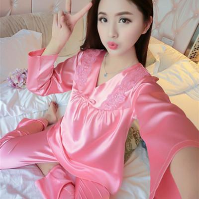 韩版真丝睡衣女长袖套装春秋绸缎性感蕾丝丝绸大码家居服冰丝夏季
