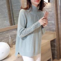 半高领毛衣女冬季新款长袖套头钉珠毛衣宽松显瘦针织衫加厚打底衫