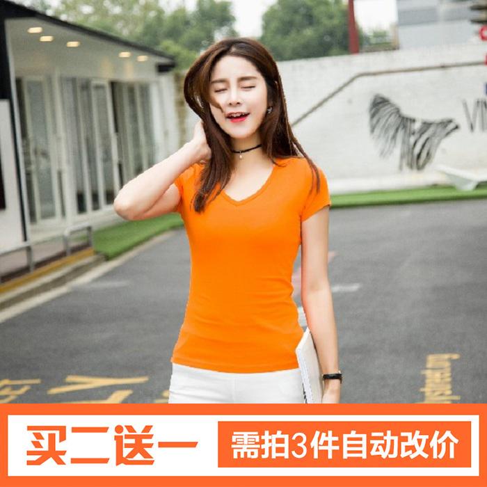 天天特价短袖t恤女上衣v领韩版打底衫夏天修身半袖纯棉体恤小衫女