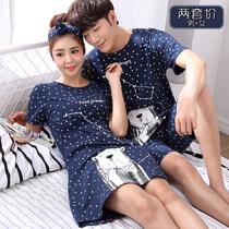 2套价 夏季情侣睡衣女士纯棉短袖卡通睡裙夏天男士全棉家居服套装