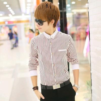 网红衬衫男长袖修身韩版潮流发型师紧身寸衫社会小伙夜场条纹衬衣
