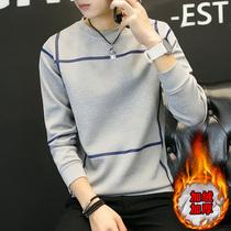 加绒t恤男长袖韩版青少年男士冬季衣服学生加厚打底衫秋衣上衣潮
