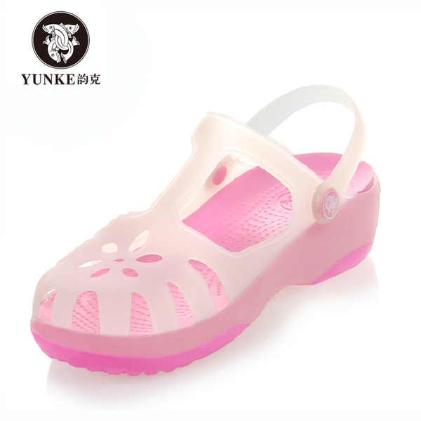 2014 new authentic female discoloration hole shoes Mary Jane shoes slip Baotou garden flat with beach jelly sandals