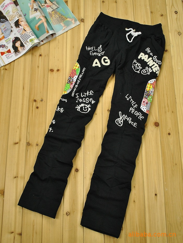 Женские брюки Япония большой грубой патч вышивка цветок патч кармане брюки Гламурный стиль
