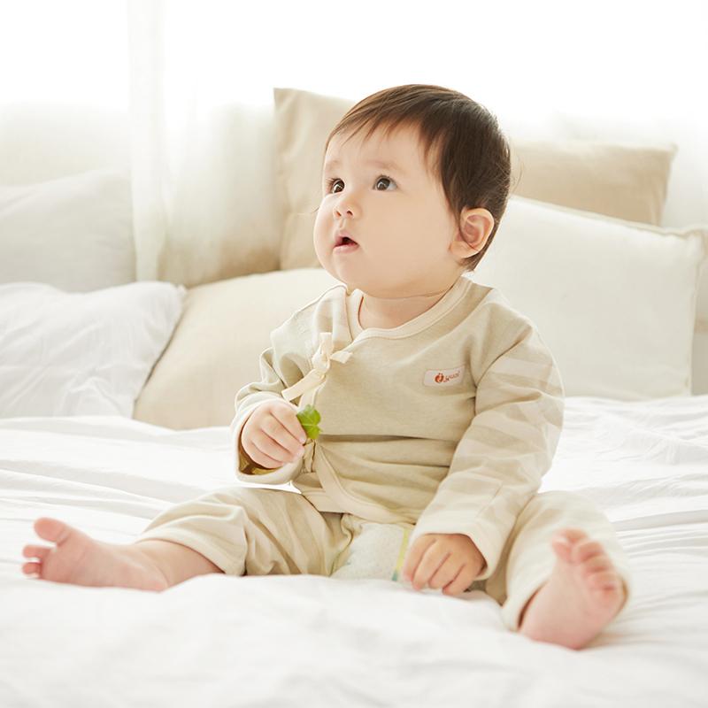 无菌彩棉婴儿内衣纯棉套装新生儿衣服春秋初生宝宝0-3个月和尚服