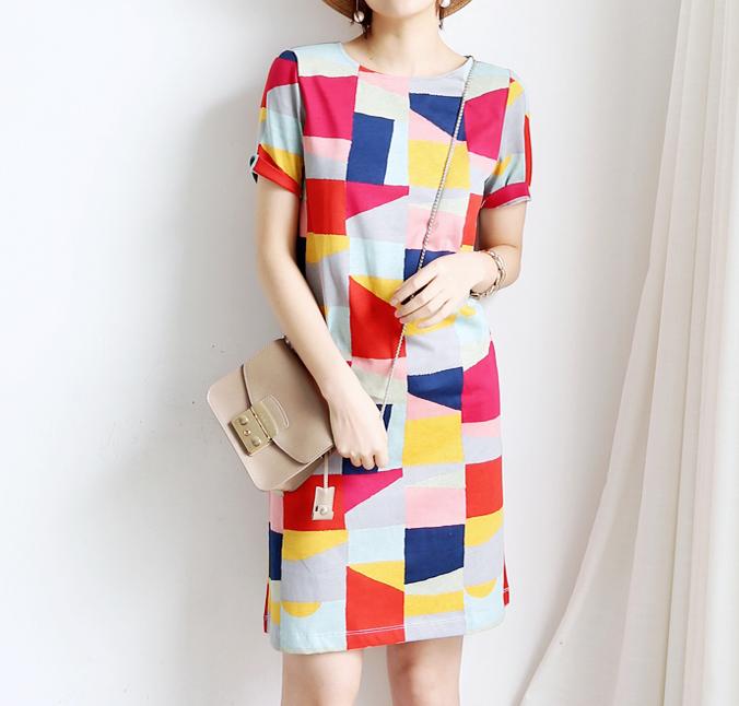 美式度假风 欧单洋气衬肤色块PIMA棉小 直筒连身裙 连衣裙17夏女