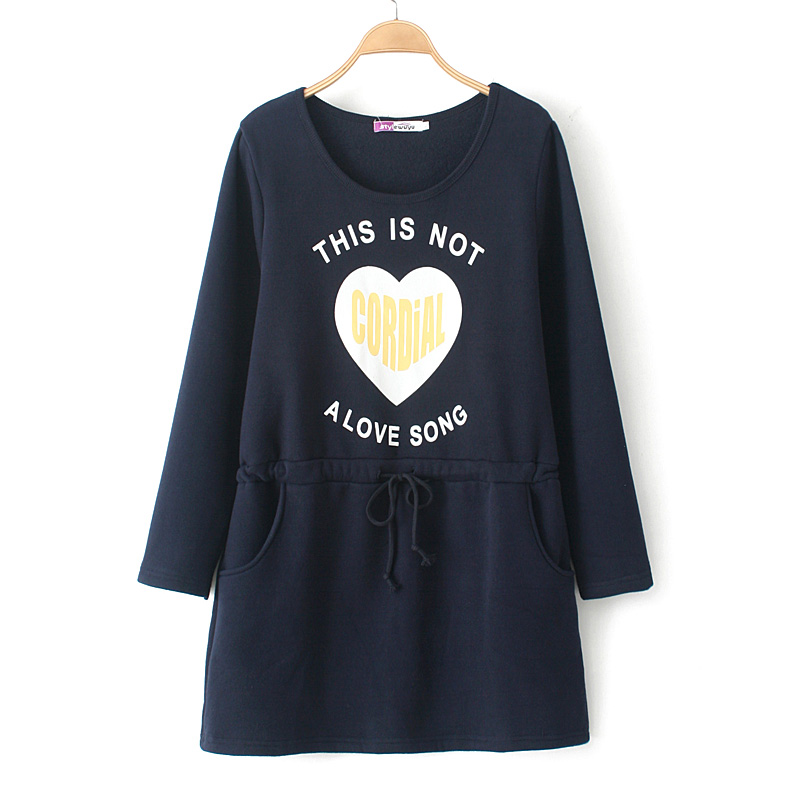 Story style autumn and winter 2014 new large size women fat MM was thin waist dress plus velvet love letters