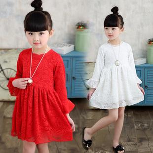 女童连衣裙春秋装长袖童装公主裙棉质纯色网纱中大童儿童裙纱裙子