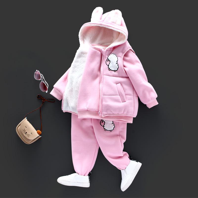 2016新款童装冬季女童纯棉套装宝宝加绒加厚棉衣中小童休闲三件套