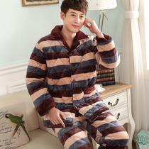 冬季三层加厚男士珊瑚贝贝绒夹棉睡衣青少中老年法兰绒男款家居服