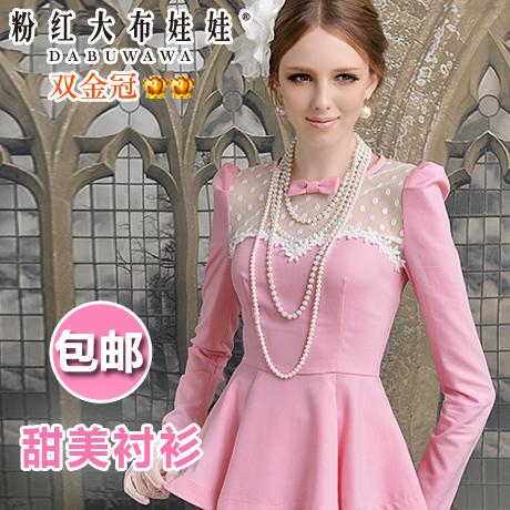 женская рубашка Big pink cloth doll c27ms Милый Длинный рукав Однотонный цвет Осень 2012 В горошек, Бантик бабочкой, Смешанные ткани, Кружево, Сетка О-вырез Свитер