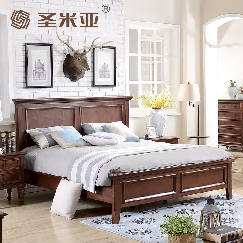 美式全实木乡村床 仿古卧室家具床双人床1.8米 新古典床简约床