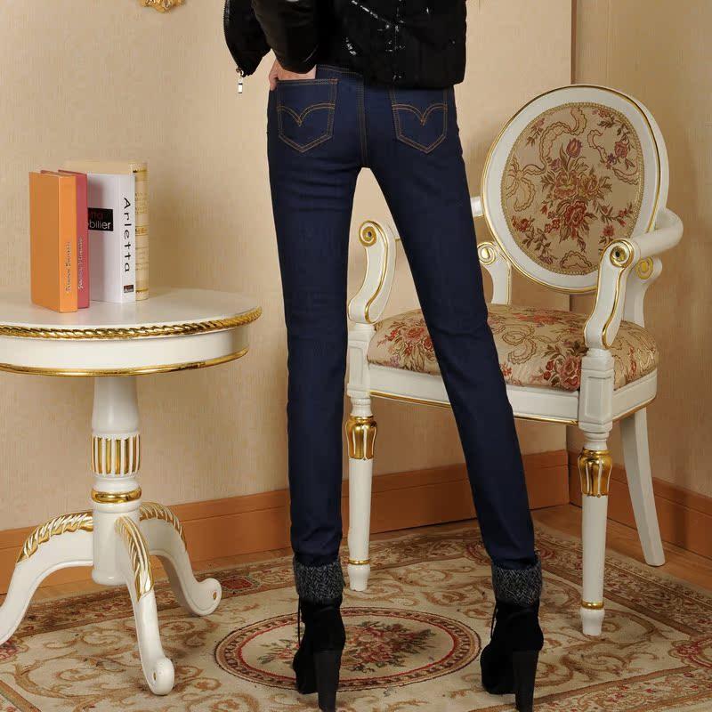 加绒加厚铅笔牛仔裤靴裤