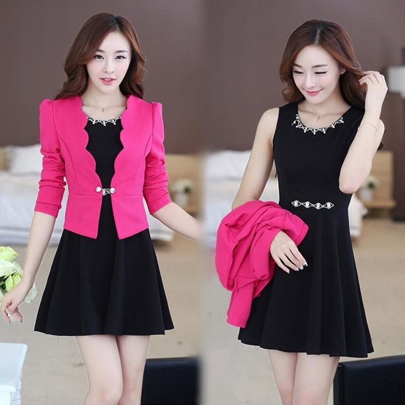 2016春季新款韩版大码女装显瘦背心裙外套两件套OL气质套装连衣裙