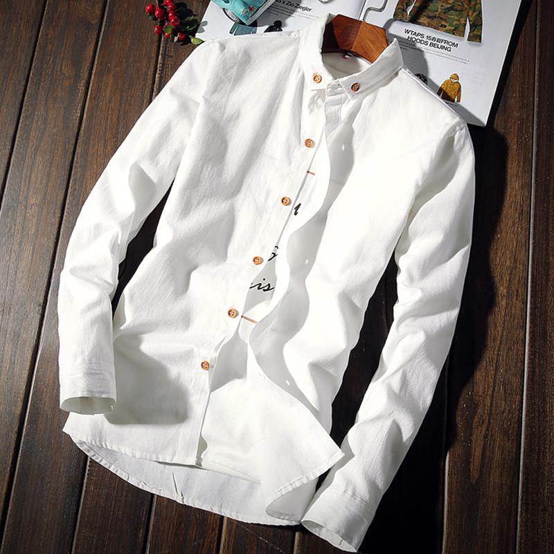 秋季新款休闲白男士长袖衬衫修身学生韩版潮衬
