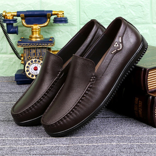 Fall men aged father casual shoes soft bottom soft leather shoe leather shoes slip breathable leather shoes