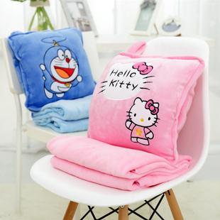 沙发靠枕汽车抱枕被子两用靠垫办公室午睡枕珊瑚绒午休毯子空调被