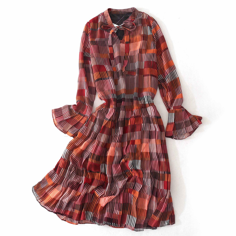 E91条纹雪纺连衣裙飘带领长袖低腰打底裙中长裙时尚春季新款7B584