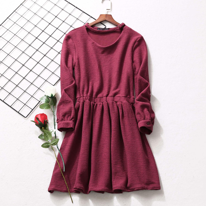D33简约长袖连衣裙女装秋季新款松紧腰收腰中长款修身打底裙7D545