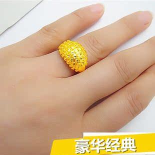 大号大气满天星戒指黄金指环开口女士送妈妈新娘首饰可调节个性