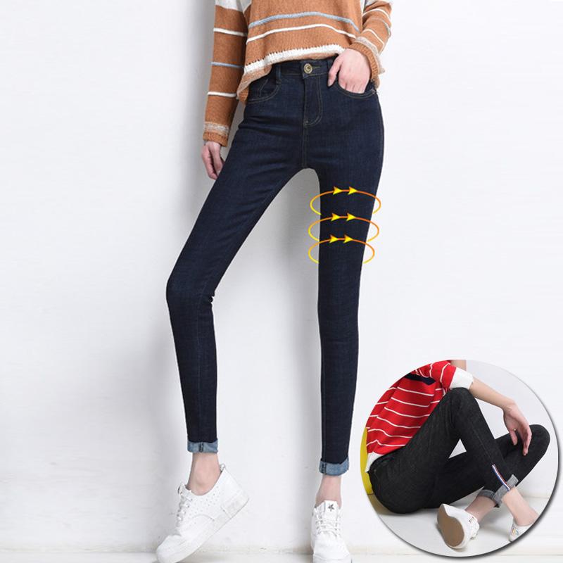 2017新款春夏韩版牛仔九分裤女弹力修身中腰小脚裤学生百搭牛仔裤