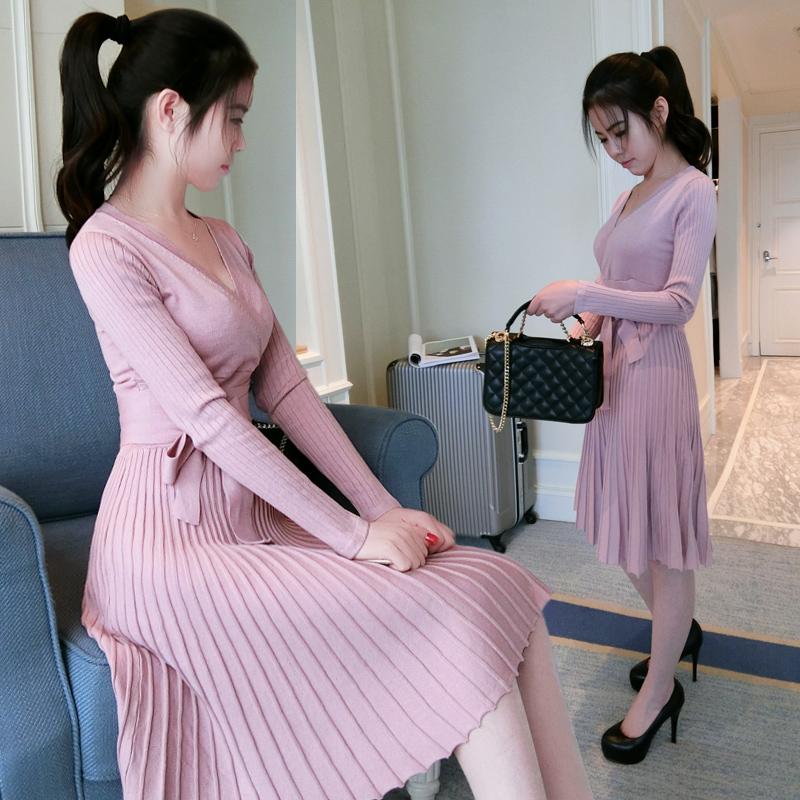 2016春秋新款韩版气质V领针织连衣裙女长袖修身显瘦收腰毛衣裙子