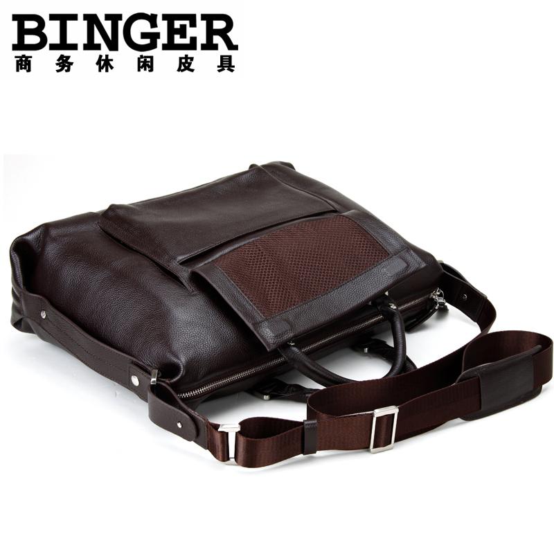 Сумка Binger 100471 Для молодых мужчин Женская сумка Однотонный цвет Кожа быка
