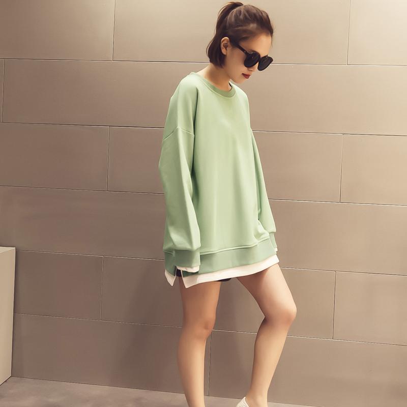 漫喵家春装新款假两件圆领套头纯棉卫衣女宽松长袖外套中长款T恤