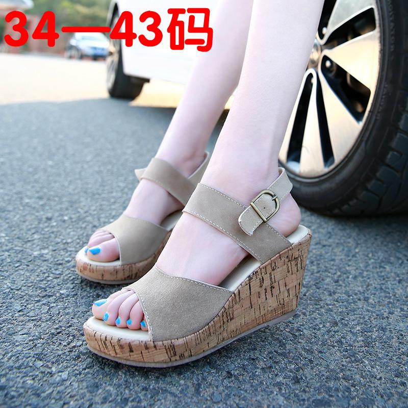 韩国2016新款大码凉鞋女土夏41-43中跟坡跟百搭简约松糕跟鱼嘴鞋