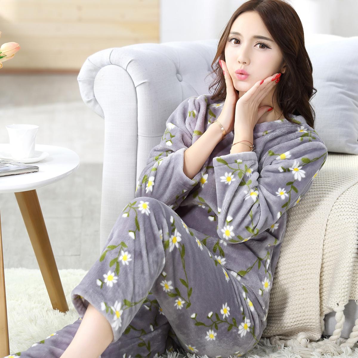 秋冬季睡衣女珊瑚绒加厚长袖可爱法兰绒睡衣女